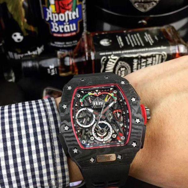 RM50-03 Series Automatic Mechanical Moement Men's Watch 40x50x16mm Carbon Fiber Case Rubber or Nylon Watch Belt/Folding Buckle