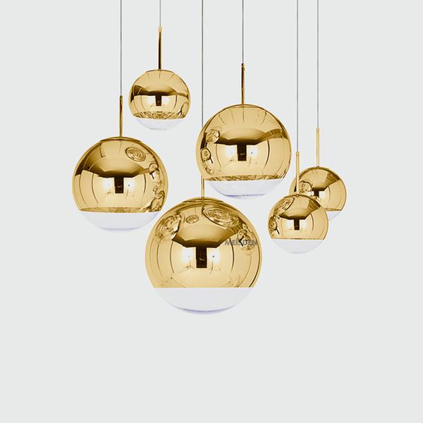 Bola de vidro Nordic Gold Silver LOFT Modern LED Lighting Luzes pendentes Restaurante Bar industriais Lâmpadas Pingente Luminárias de cozinha