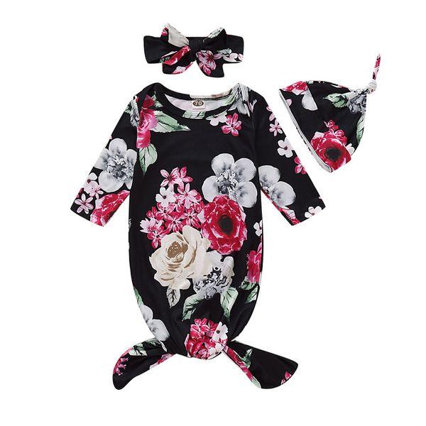 best selling Newborn Floral Sleeping Bag 8 Style Flower Printed Baby Swaddle Infant Cartoon Floral Elephant Baby Sleep Sacks With Headband Hat 060807