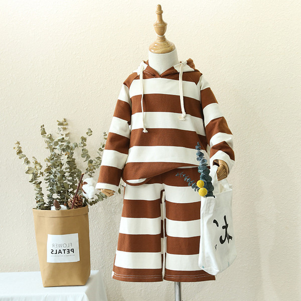 2pcs boys girls spring autumn striped clothing set kids hooded long sleeve casual hoodies and pant set baby new style clothes