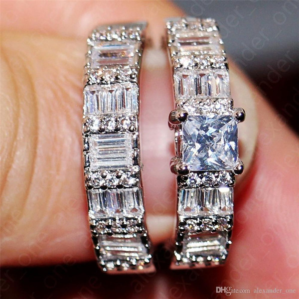 Kadın Moda Meydanı Topaz Elmas CZ Gemstone Rings Seti Takı Hanımın Lüks 10KT beyaz altın evlilik yıldönümü Rings doldurdu