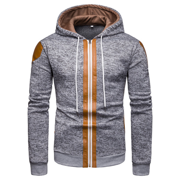 YOUYEDIAN 2019 Men's Fall And Winter New Fashion Color Collision Zipper Hooded Blouse New arrival