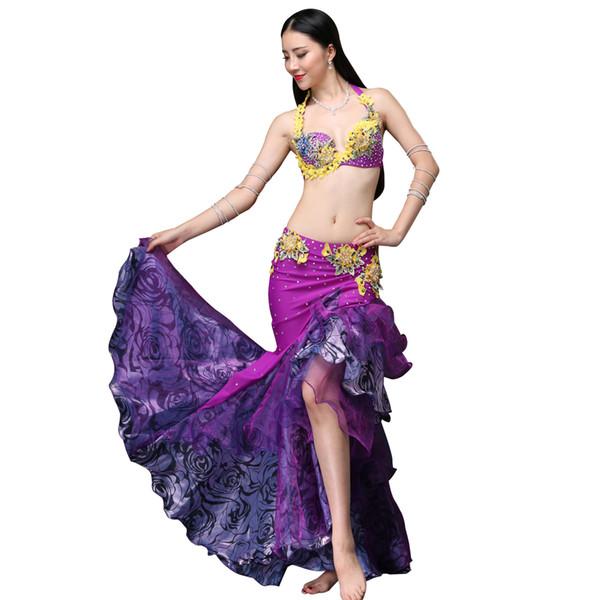 2pcs ensemble magnifique danse du ventre violet tribal perlé rassemblement soutien-gorge robe en mousseline de soie splice sirène jupe (soutien-gorge + jupe)