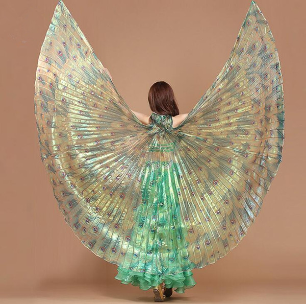Women's Fairy Belly Dance Peacock Isis Wings Stage Performance Show Props With Adjustable Stick Free Shipping