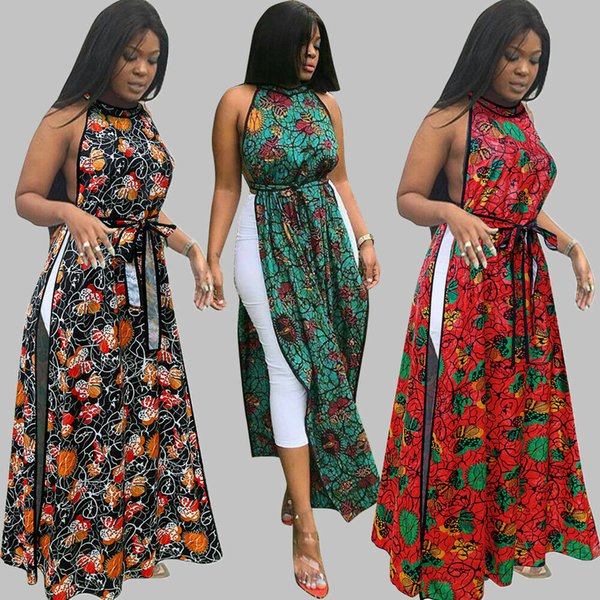 Sexy Women Boho Vintage Floral Print Bandage Sashes Waist Side Hollow Sleeveless High Waist Split Maxi Dress Summer Tops