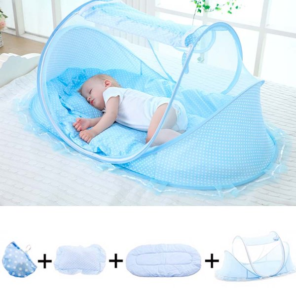 2019 New Cute Bi-parting Bedding Crib Netting Folding Baby Mosquito Nets Bed Mattress Pillow Four-piece Suit For 0-3 Years Old