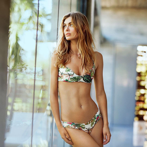 New cross-border women's two-piece bathing suit bikini 9102 with sexy special cloth leaf printing bikini beach suit