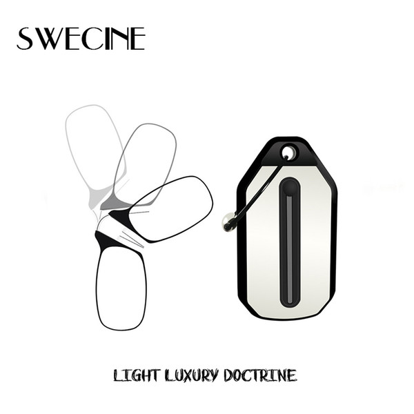 Swecine Clip Nose Mini Folding Reading Glasses Men And Women's Easy Carry With Key Chain Case Prince-nez Glass C19041201