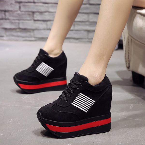 Akın Yüksek Topuk Bayan Rahat Siyah Kırmızı Kadın Sneakers Eğlence Platformu Ayakkabı Nefes Yüksekliği Artan Ayakkabı Kalın Alt Kürk