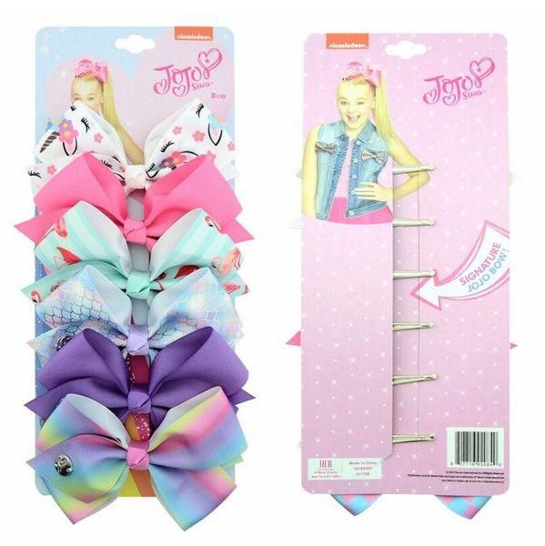 Hair Accessories Children's headwear bow hairpin children's hair accessories set jojo bow baby headwear 6 color set
