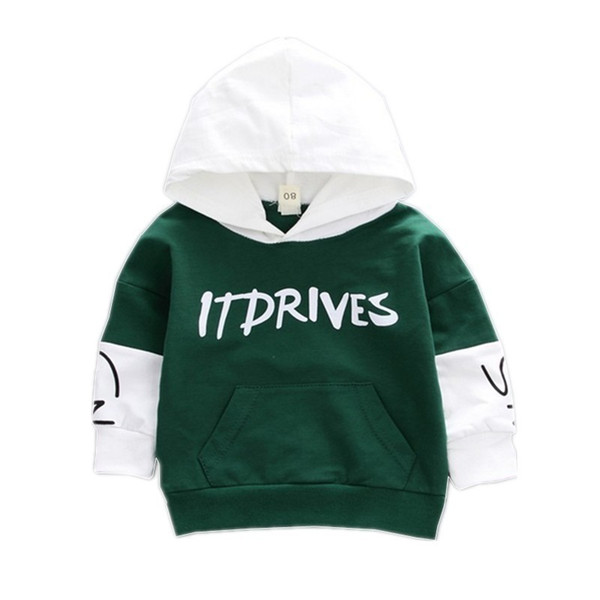 2019 Autumn Winter Fashion Baby Clothes Toddler Boys Girls Cotton Leisure Hooded Sweatshirts Infant Letter Blouse Hoodies Tops