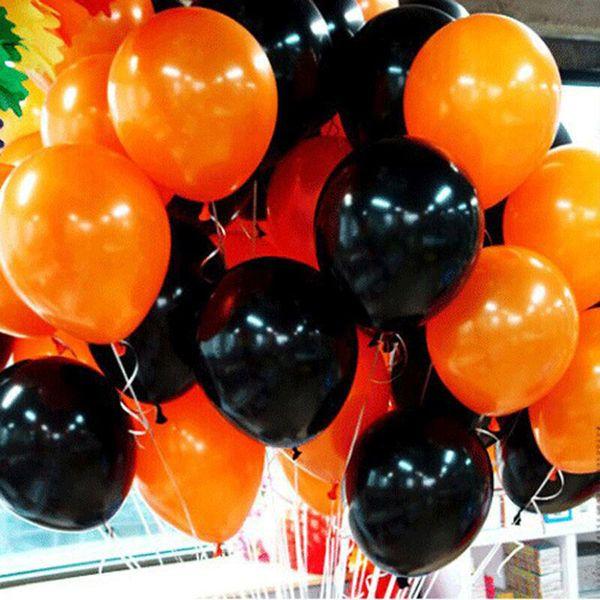 Palloncino in lattice spesso con decorazione di Halloween Nero arancione rosso verde opaco 10 pollici Forniture per feste gonfiabili da festival 2.2G 08