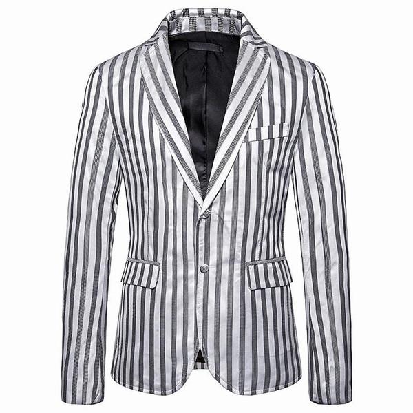 Smoking Stripe Mens Blazer Giacca di misura sottile dei vestiti da sposa per Uomini Cappotti Moda Black Gold Nuovo