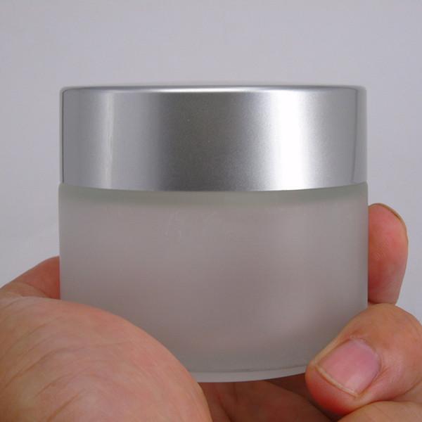 Matte fosco 30g 50g frasco de creme de vidro cosmético com tampa de prata fosco, atacado recipiente de jarra de vidro médica hermético frete grátis