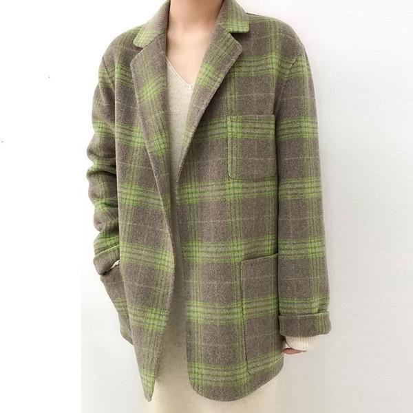 Yeni Moda Kadın Yün Kör ceketler Büyük Sac Yün Temel Ceket Kadın Vintage Paketi yaka Yelek Keşmir Gri palto HJ36 SH190930