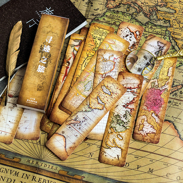 30pcs/pack retro map travel bookmark paper bookmarks vintage page marker stationery school office supplies papeleria sl2081
