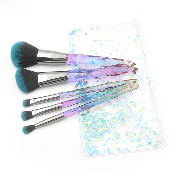 Hot 5pcs Transparent Crystal makeup brushes Eye Foundation Powder Contour brush with PVC Bag Beauty Makeup Tool