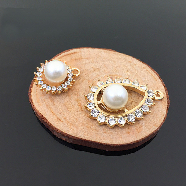 30 PCS 20*15mm 21*30mm Fashion Alloy Pendant Imitation Pearl Crystal Rhinestone Connectors Charm For Jewelry Making Component