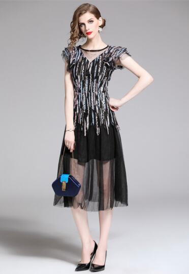 Summer new fashion elegant round neck ruffled heavy work sequins waist dress