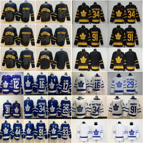 new 2020 st. pats men's toronto maple leafs 16 mitch marner 29 william nylander 91 stitched hockey jersey kapanen ron hainsey marleau, Black;red