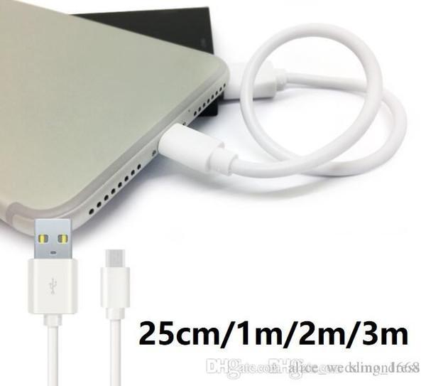 Cable USB de carga rápida 2A Adaptador de cargador 1m 2m 3m 0.25m V8 Micro tipo C Cable line para Samsung S7 S8 S9 Nota 9 8 7 6 Teléfono inteligente Android