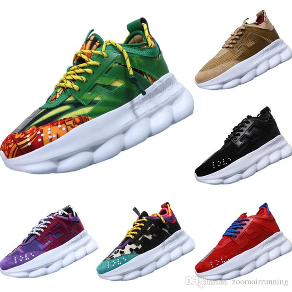 2019 Chain Reaction Genuine Leather Decorate Fur & Fabric Walking Shoes Chain Reaction Thick Sole Cushioning Lovers Sports Shoes