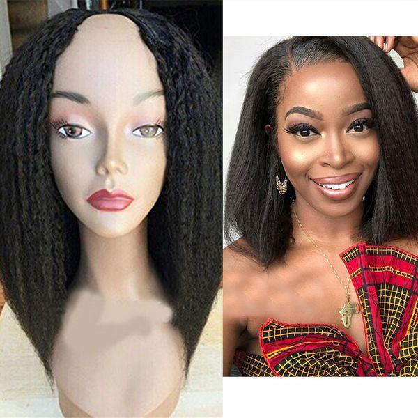 Средние открытые 100% человеческие волосы афро странные прямые парики с частью U 100% необработанный перуанский короткий парик боба яки прямые прямые волосы девственницы