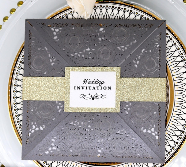 2019 New Invitation Cards Dark Gray Hollow Laser Wedding Favors With Paper Tapes High Quality Paper Business Invites Cards Hot Selling Wedding