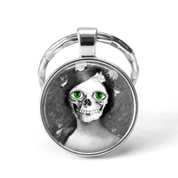 Skull Key Chains Skeletons Punk Jewelry Glass Cabochon Key Rings Pendant Keychains Fashion Jewelry Gift