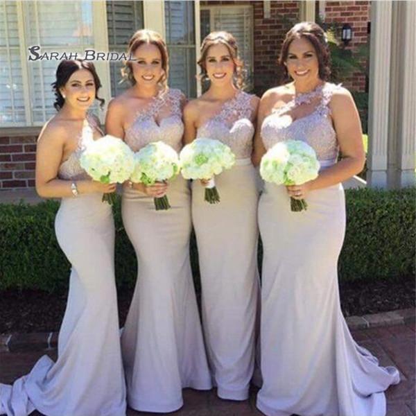 top popular 2020 Elegant Appliques Mermaid One Shoulder Sleeveless Wedding Occasion Bridesmaid Dress robes de soirée Wedding Boutique 2020