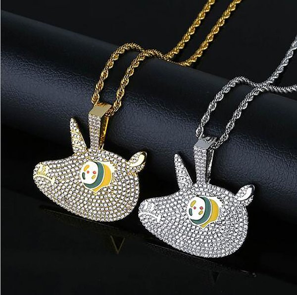 14K Gold Plated Hip Hop Colorful Cartoon Big eyes Unicorn Pendant Necklace Micro Pave Cubic Zirconia Diamonds with 24inch Rope chain