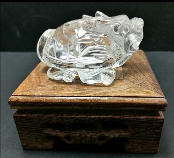 Cristal Natural blanco cristal dragón adornos adornos feng shui cuerpo de tortuga líder Wangcai longevidad