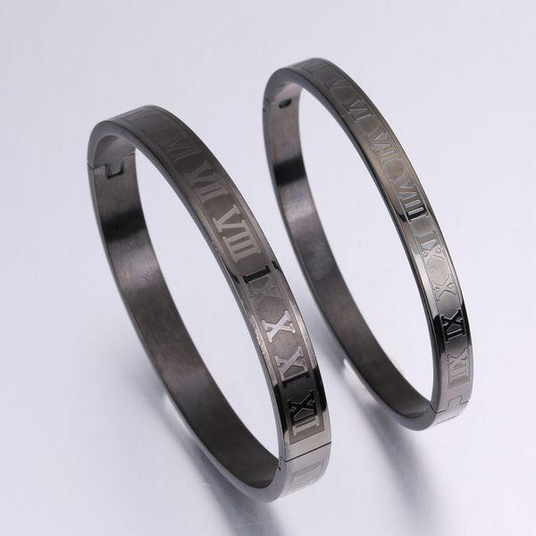 Personalized Cuff Bracelet Engraved Roman Numerals Titanium Steel Couple Bangle Sleek minimalist style 4 colors optional free shipping