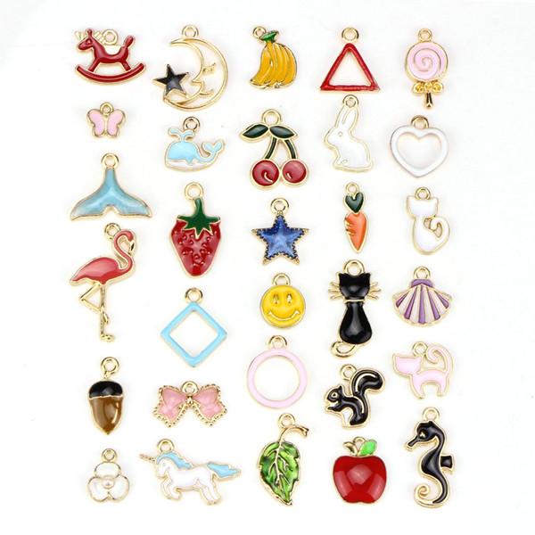 30pc fishtail fruit moon cherry charm bracelet diy make bracelet charms for jewelry making mix enamel charms pendants craft