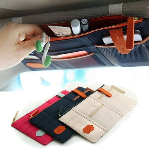 Car-styling Car Sun Visor Cards Package Holder Multifunction In-car Pocket Organizer Pouch Bag Pocket Auto Tidying Accessories