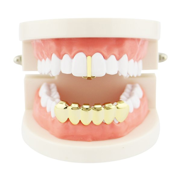 European and American Jewelry Creative New Gold-plated Vertical Stick Hip Hop Gold Braces Combination Tree Stick Single Teeth