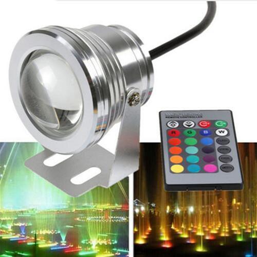 10W 12v sous-marin RVB Led Lumière 1000LM Étanche IP65 fontaine piscine aquarium lampe 16 changement de couleur 24 clé IR Télécommande