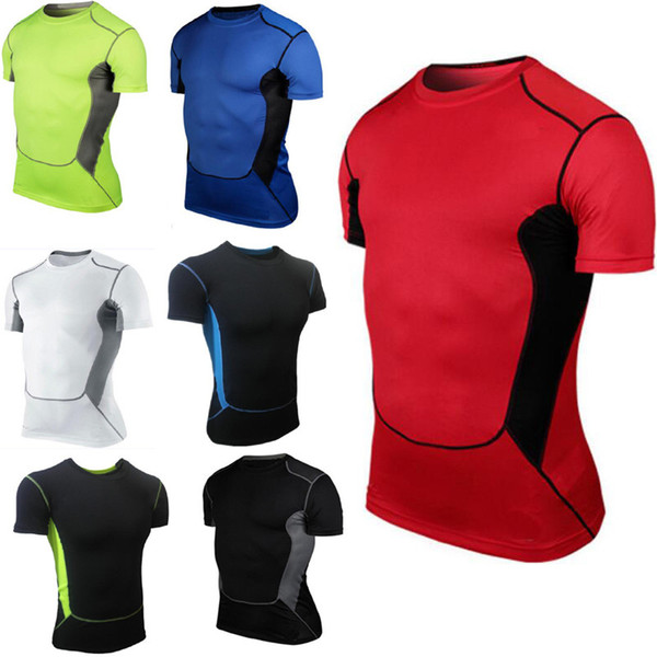 Men/'s Sports Workout Compression T Shirts Athletic Basketball Gym Running Tops