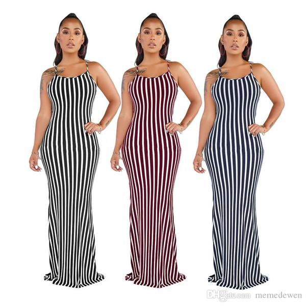 Vertical Stripe Sexy Plus Size Sundress Women Spaghetti Strap Sleeveless Bohemian Dress Elegant O Neck Backless Beach Maxi Dress N19.6-1887