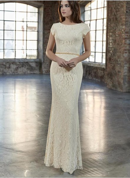 2019 New Mermaid Cream Lace Long Modest Bridesmaid Dresses With Cap Sleeves Floor Length Women Formal Modest Bridesmaid Gowns Beaded Waist