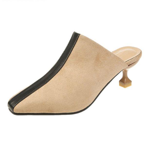 Dress Shoes 2019 New Elegant Women Slipper Pumps Flock Square Toe Slip-on Spring Woman High Heels Female Most Popular Wild Footwear
