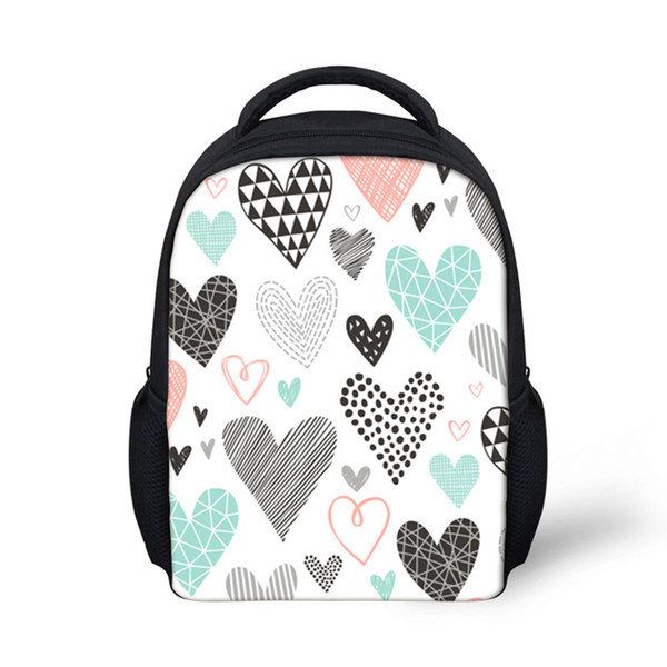Customized Kindergarten School Bags Backpack for Girls Hearts Geometrical Love Valentine Pattern Children Backpacks Infant Kids