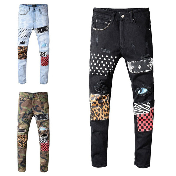 top popular Mens Jeans Classic Hip Hop Pants Stylist Jeans Distressed Ripped Biker Jean Slim Fit Motorcycle Denim Jeans 2020