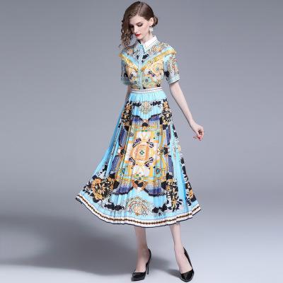 621dd7d1b35b6 2019 moda kadın baskılı elbiseler, bayan güzel pist pilili etek, kısa kollu  yaka boyun