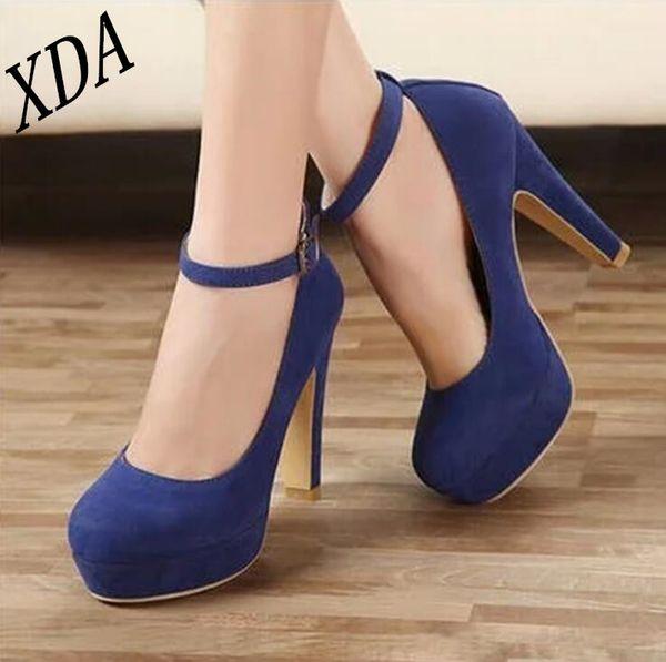 Designer Dress Shoes XDA 2019 Classic High Heels Women's Sandals Summer Ladies Strappy Pumps Platform Heels Woman Ankle Strap W11