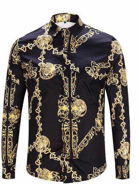 Модельер Золотая Цепочка Печати Старинные Мужские Рубашки Дизайнер Отворот Шеи С Длинным Рукавом Роскошные Топы Мужчины Повседневная Т