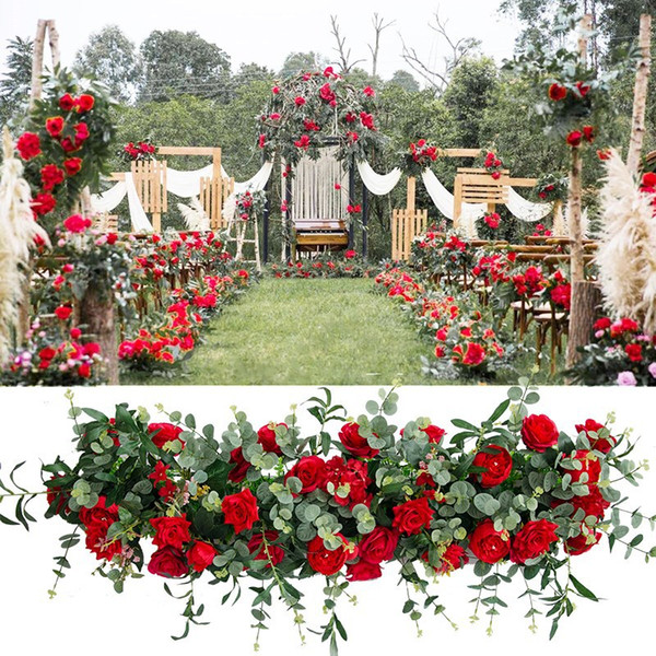 100 Cm Rose flores artificiales Fila Arco + Hoja de Olivo DIY Arco de la boda, arreglo floral Runer seda de la flor de la decoración de la boda Fila
