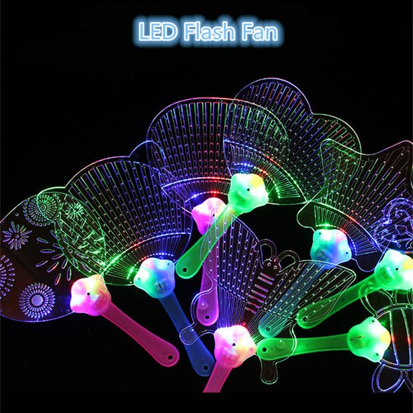 LED Flashing Fan Cartoon Luminous Flackerlicht Fan Pushan Werbegeschenk LED Flash Lights Fan Requisiten Kinder Spielzeug Weihnachten Toy2019