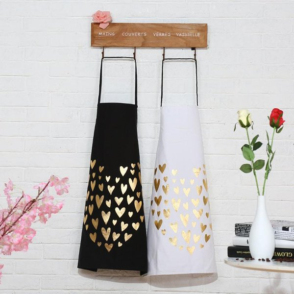 INS Sleeveless Apron Kitchen Accessories Heart Patterned Adult Apron Home Cooking Cleaning Baking Coffee Shop Working Bibs