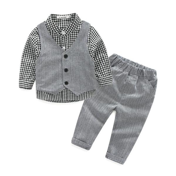 Crianças cavalheiro bebê menino roupas camisa de manga longa + colete + calça casual para casamento e festa roupas de bebê recém-nascido